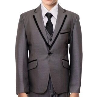Boys Suit Classic Fit 5 Piece Suits 2-Button Suits For Boys With Peak Lapel / Black Satin Lapel Trim