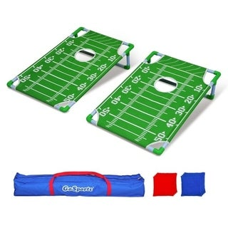 GoSports Portable PVC Framed Football Cornhole Game Set with 8 Bean Bags and Travel Carrying Case - Green