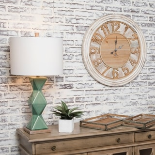Trans Time Rustic Wall Clock With Carved Numbers