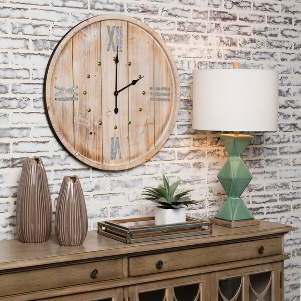 "Rustic Time 30"" Decorative Barrell Wall Clock"