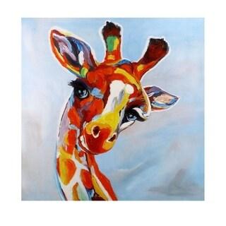 'High Rise Giraffe' Hand-painted Canvas Wall Decor