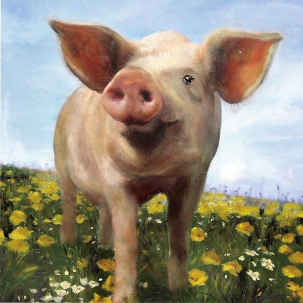 Pig Out Hand Painted Canvas Wall Decor - Multi-color ...