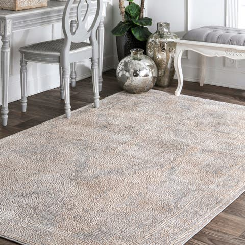 nuLOOM Beige Traditional Vintage Faded Medallion Mosaic Border Area Rug