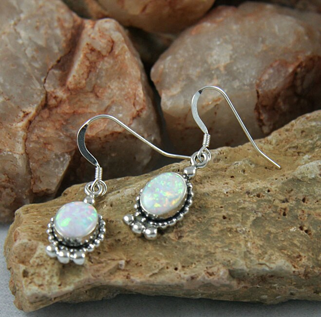 Indian Handmade Oval Elegance Opal Earrings (Set of 2)