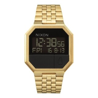 Nixon A158-502-00 Re-Run Stainless Steel Digital Mens Watch Black & Gold