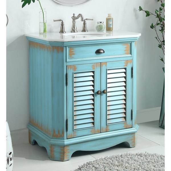 "32"" Benton Collection Fairfield Rustic Distressed Blue Bathroom Vanity. Opens flyout."