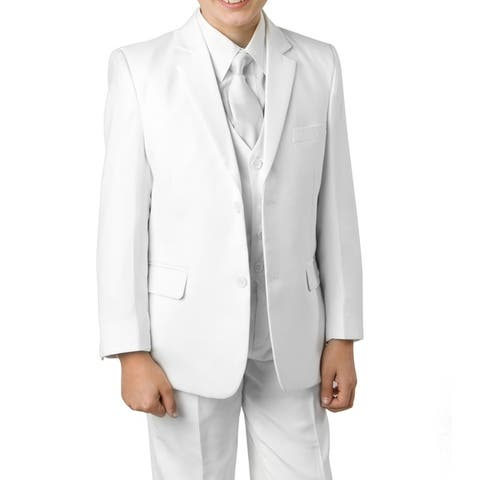 Boys White Suit 5 Pc Solid Classic Fit Suits