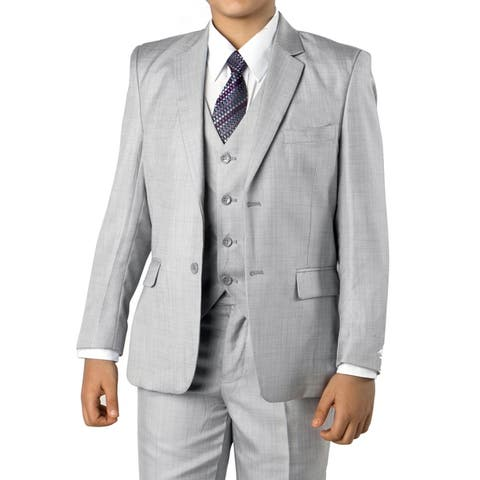 Boys Medium Grey Suit 5 Pc Solid Classic Fit Suits