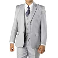 Boys Medium Grey Suit 5 Pc Solid Classic Fit Suits