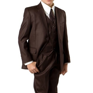 Boys Brown Suit 5 Pc Solid Classic Fit Suits