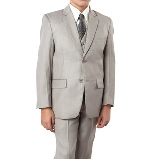 Boys Dark Tan Suit Tonal Stripe 5 Pcs classic Fit Suits