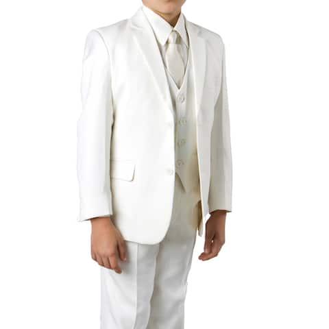 Boys Off-White Suit 5 Pcs solid Classic Fit Suits