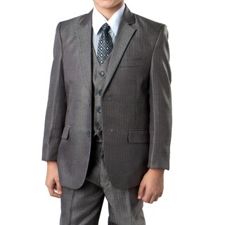 Boys Suit Silver Herringbone 5 Pieces Classic Fit Suits