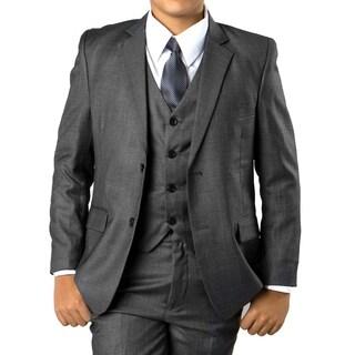 Boys Suit Grey Windowpane 5 Pieces Classic Fit Suits