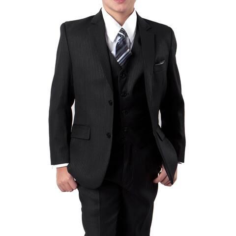 Boys Black Suit Tonal Stripe 5 Pcs classic Fit Suits