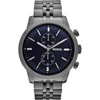 Fossil Men's FS4786 Townsman Chronograph Blue Dial Smoke Stainless Steel Bracelet Watch