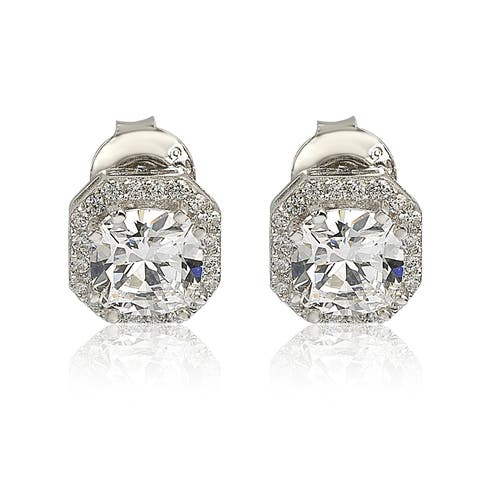 Suzy Levian Sterling Silver White Cubic Zirconia Cushion-Cut Halo Stud Earrings