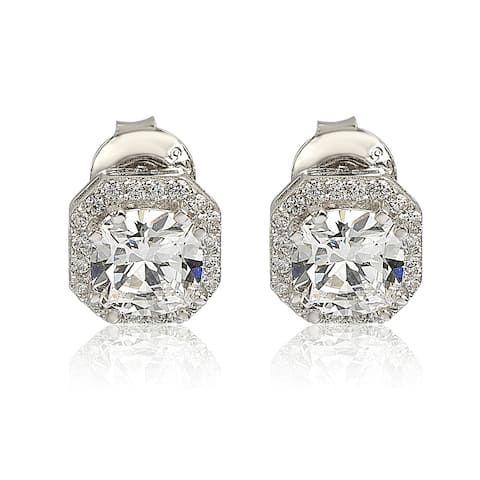 Suzy L. Sterling Silver White Cubic Zirconia Cushion-Cut Halo Stud Earrings
