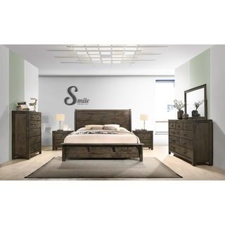 Pavita Classic Gray Finish Sleigh Bed Set, Dresser, Mirror, 2 Night Stands, Chest