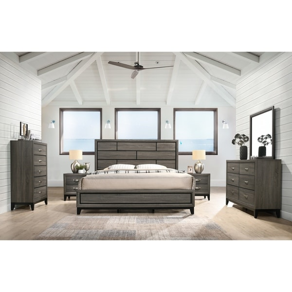Stout Panel Bedroom Set with Bed, Dresser, Mirror, 2 Night Stands, Chest