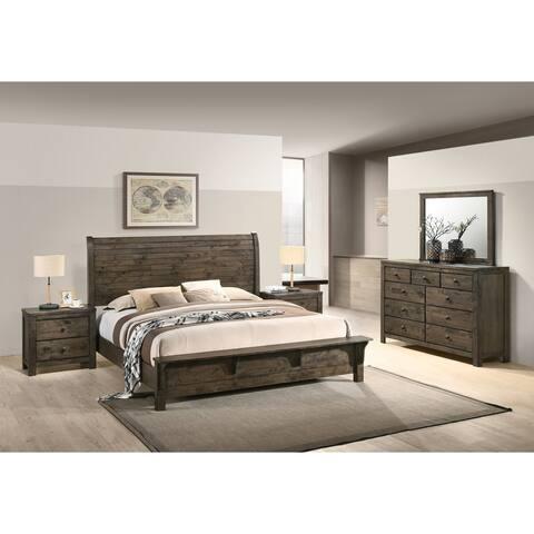 Pavita Classic Gray Finish Sleigh Bed Set, Dresser, Mirror, 2 Night Stands