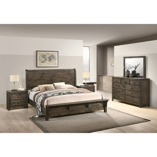 Pavita Classic Gray Finish Sleigh Bed Set, Dresser, Mirror, 2 Night Stands