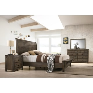 Pavita Classic Gray Finish Sleigh Bed Set, Dresser, Mirror, Night Stand