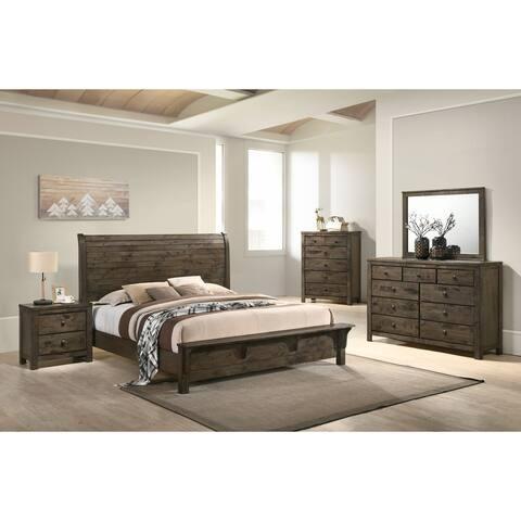 Pavita Classic Gray Finish Sleigh Bed Set, Dresser, Mirror, Night Stand, Chest