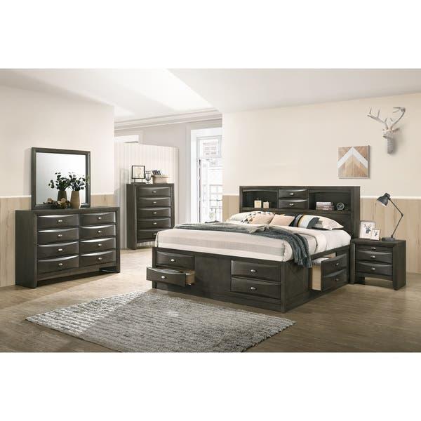 Shop Leslie Gray Finish Bed Set, Bookcase Headboard Storage ...