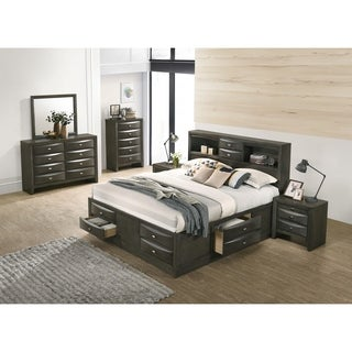 Leslie Espresso Finish Bed Set, Bookcase Headboard Storage Platform Bed, Dresser, Mirror, 2 Night Stands, Chest