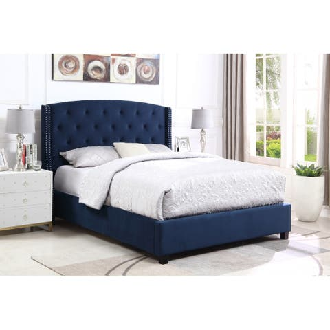 Summit Wingback Tufted Upholstered Bed with Nailhead
