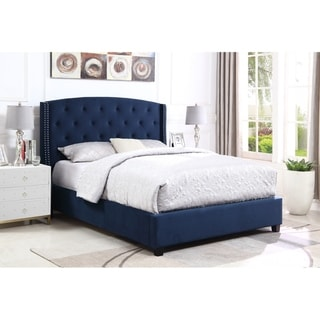 Link to Summit Wingback Tufted Upholstered Bed with Nailhead Similar Items in Bedroom Furniture