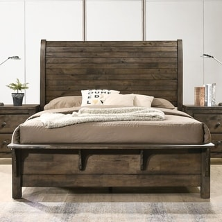 Carbon Loft Guinevere Classic Grey Finished Sleigh Bed with Metal Strap (Queen)