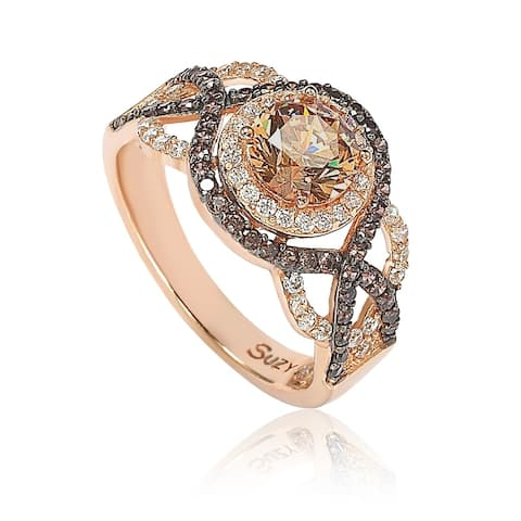 Suzy L. Rosed Sterling Silver Brown Cubic Zirconia Crossover Bridal Ring - Brown/White