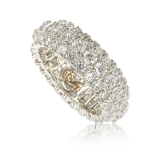 Suzy Levian Sterling Silver White Cubic Zirconia 3 Row Eternity Band