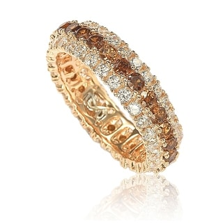 Suzy L Rosed Sterling Silver Brown Cubic Zirconia 3 Row Eternity Band