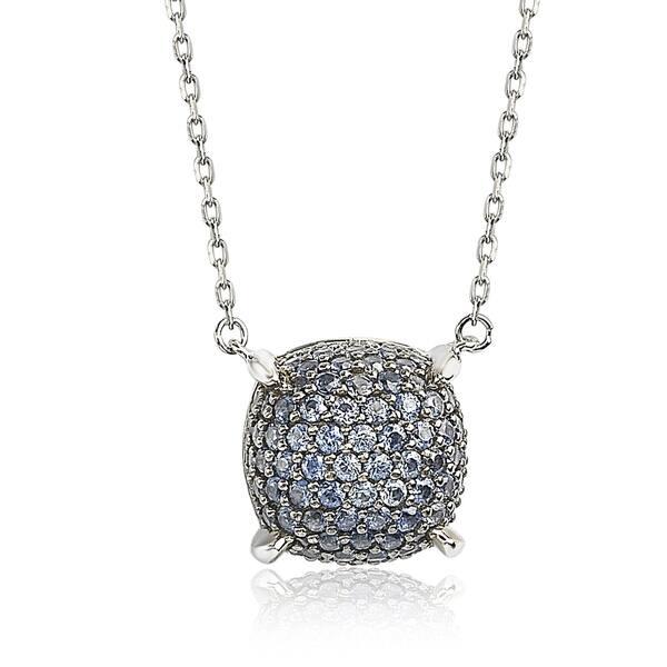29d6b7a4da6a3 Suzy Levian Sterling Silver Sapphire & Diamond Accent Pave Cluster Necklace