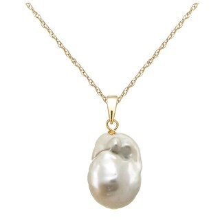 DaVonna 14k Gold 12-17mm White Nucleated Freshwater Pearl Pendant Necklace 18 inches