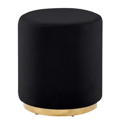 Sagebrook Home BLACK/GOLD VELVETEEN STOOL