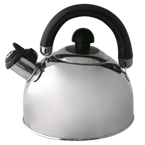 2.6 QT Stainless Steel Classic Whistling Tea Kettle Easy Pour w/Folding Handle