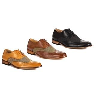 Gino Vitale Wing Tip Brogue Herringbone Dress Shoes