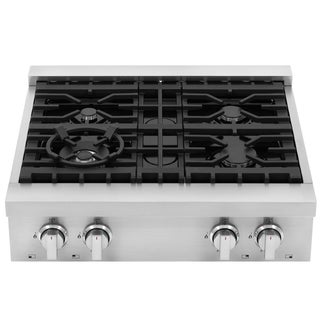 30 in. Gas Cooktop with 4 Italian Made Burners, Slide-In with Cast Iron Grates
