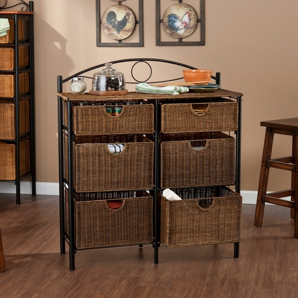 The Curated Nomad Belize Black Wicker 6 Drawer Storage Chest