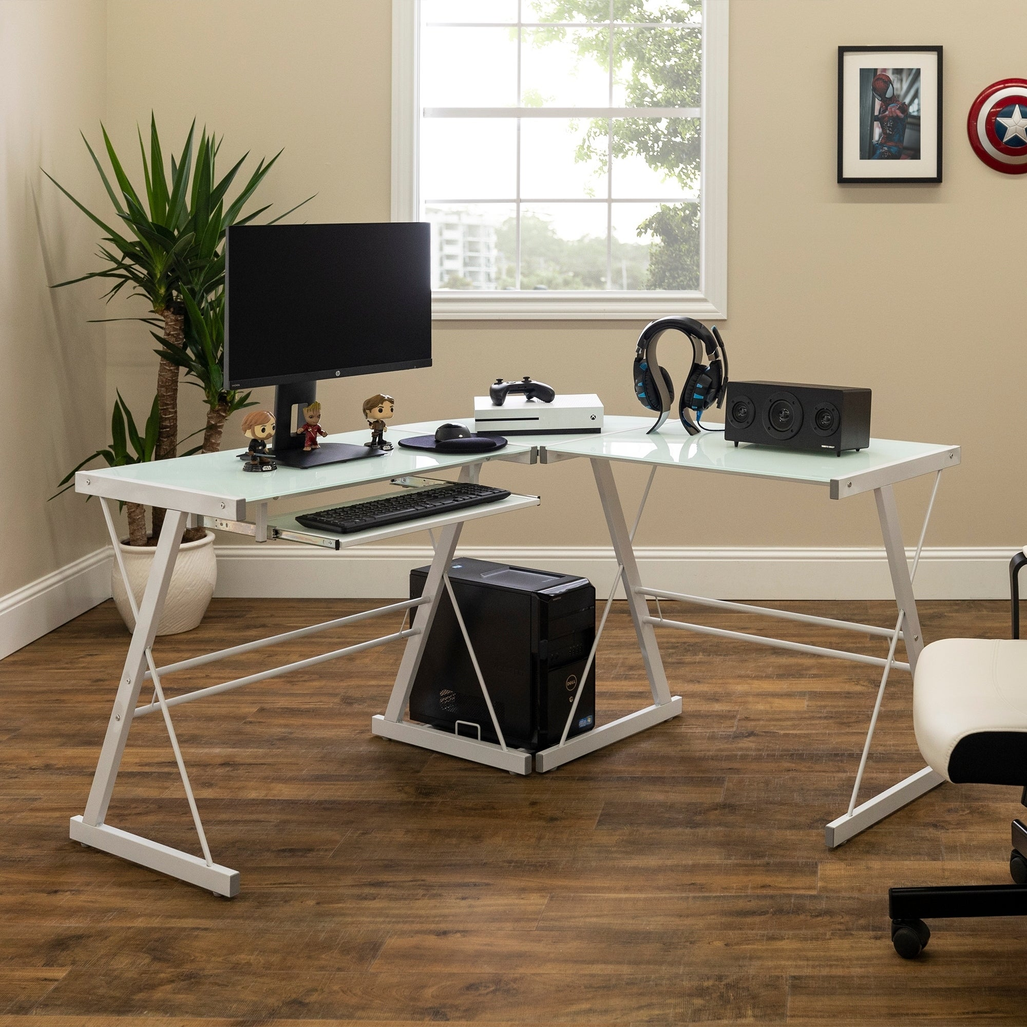 Porch & Den Hardy White Glass Metal Corner Computer Desk