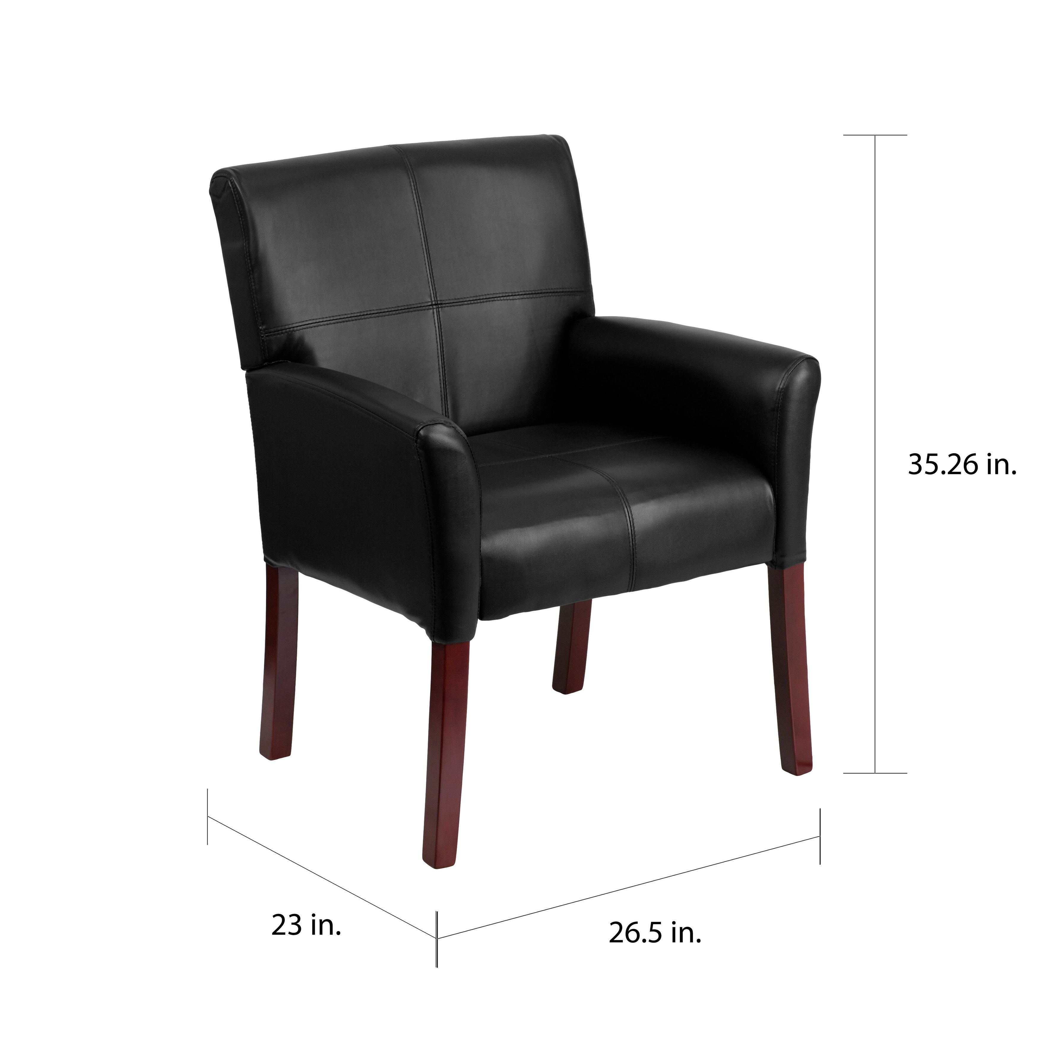 Astounding Copper Grove Neys Black Leather Executive Side Chair Reception Chair With Mahogany Legs Pdpeps Interior Chair Design Pdpepsorg