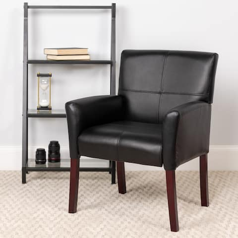 Copper Grove Neys Black Leather Executive Side Chair/Reception Chair with Mahogany Legs