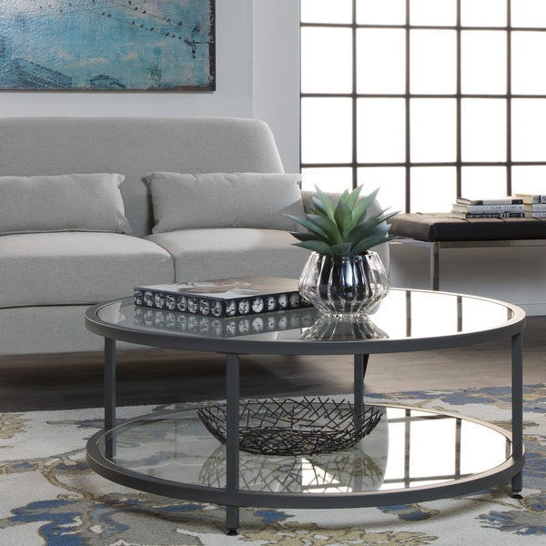 Carbon Loft Heimlich Pewter Steel/ Glass Round Coffee Table
