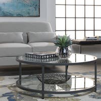 Carbon Loft Heimlich Pewter Steel/Glass Round Coffee Table