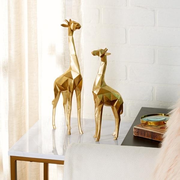 """Modern Metallic Gold Giraffe Statues Set of 2 - 5"""" x 15"""", 4"""" x 12"""""""