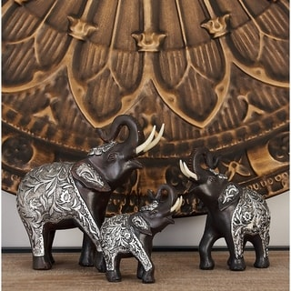 The Curated Nomad Merced Silver and Brown Resin Elephant Sculpture (Set of 3)